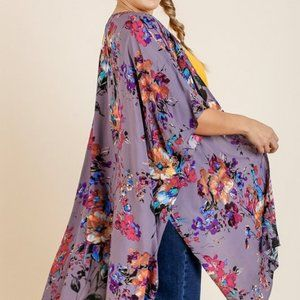 Floral Print Bell Sleeve Kimono - Purple and Pink